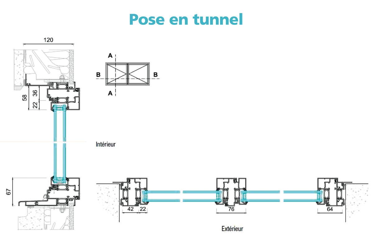 Frappe aluminium portes d 39 int rieur Pose fenetre en tunnel